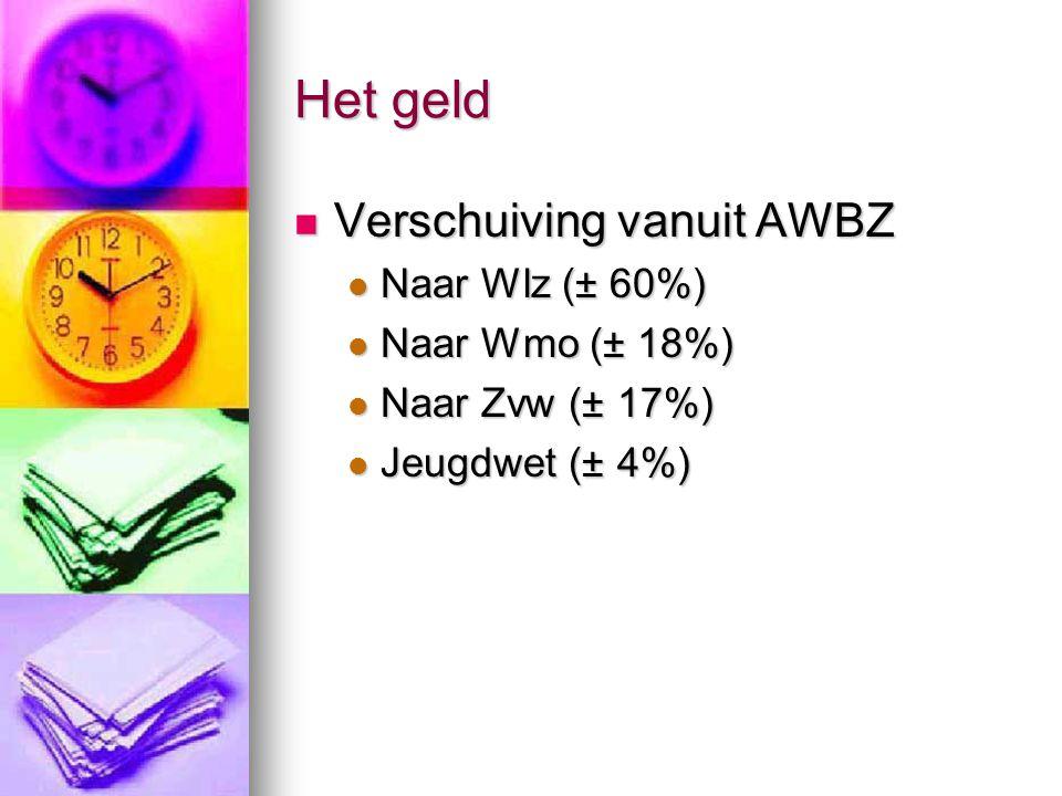 Het geld Verschuiving vanuit AWBZ Verschuiving vanuit AWBZ Naar Wlz (± 60%) Naar Wlz (± 60%) Naar Wmo (± 18%) Naar Wmo (± 18%) Naar Zvw (± 17%) Naar Zvw (± 17%) Jeugdwet (± 4%) Jeugdwet (± 4%)