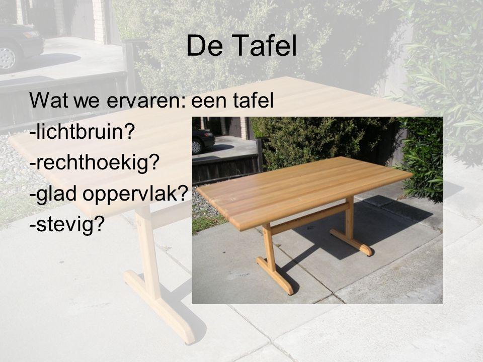 De Tafel Wat we ervaren: een tafel -lichtbruin? -rechthoekig? -glad oppervlak? -stevig?