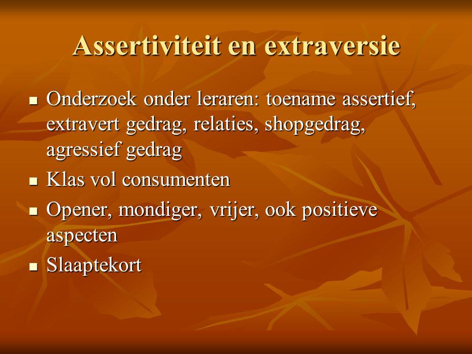 Assertiviteit en extraversie Onderzoek onder leraren: toename assertief, extravert gedrag, relaties, shopgedrag, agressief gedrag Onderzoek onder lera