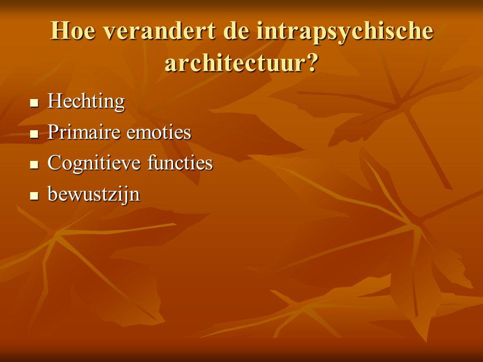 Hoe verandert de intrapsychische architectuur? Hechting Hechting Primaire emoties Primaire emoties Cognitieve functies Cognitieve functies bewustzijn