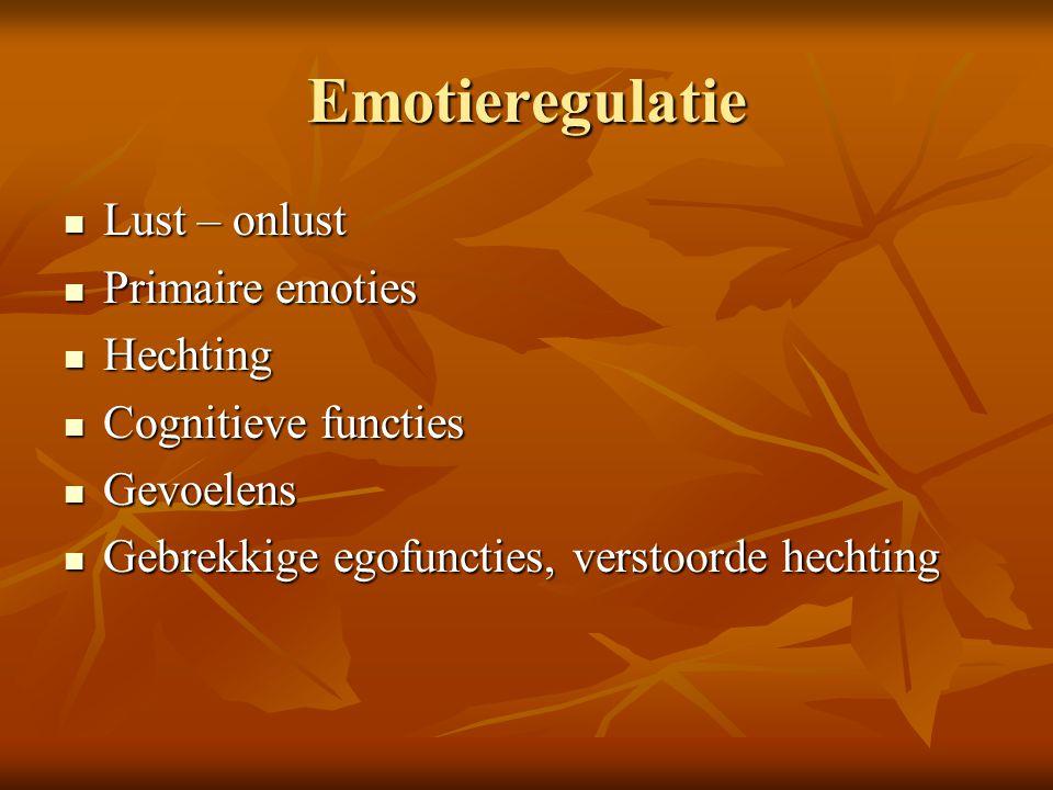Emotieregulatie Lust – onlust Lust – onlust Primaire emoties Primaire emoties Hechting Hechting Cognitieve functies Cognitieve functies Gevoelens Gevo