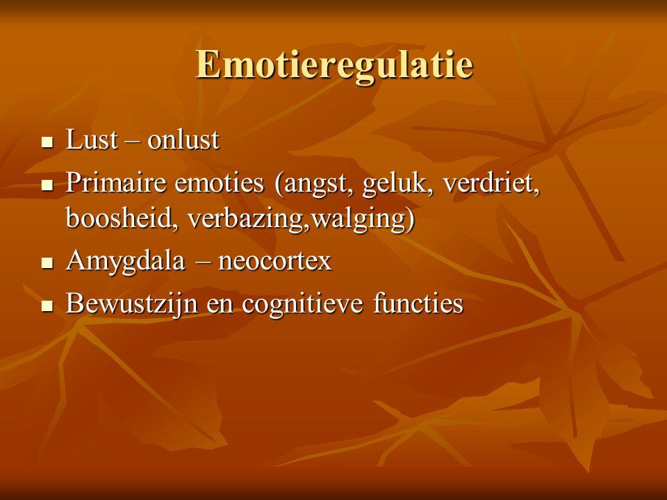 Emotieregulatie Lust – onlust Lust – onlust Primaire emoties (angst, geluk, verdriet, boosheid, verbazing,walging) Primaire emoties (angst, geluk, ver