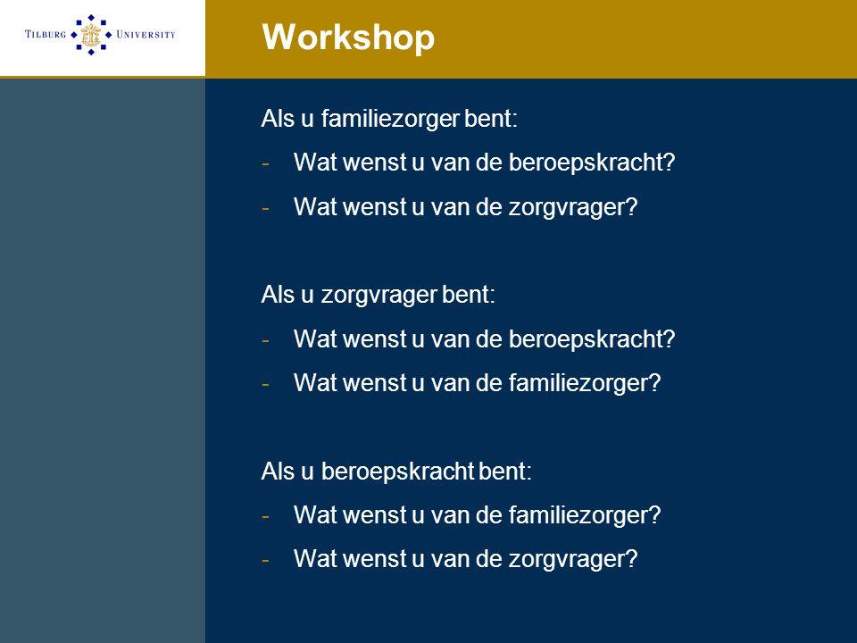 Workshop Als u familiezorger bent: -Wat wenst u van de beroepskracht? -Wat wenst u van de zorgvrager? Als u zorgvrager bent: -Wat wenst u van de beroe
