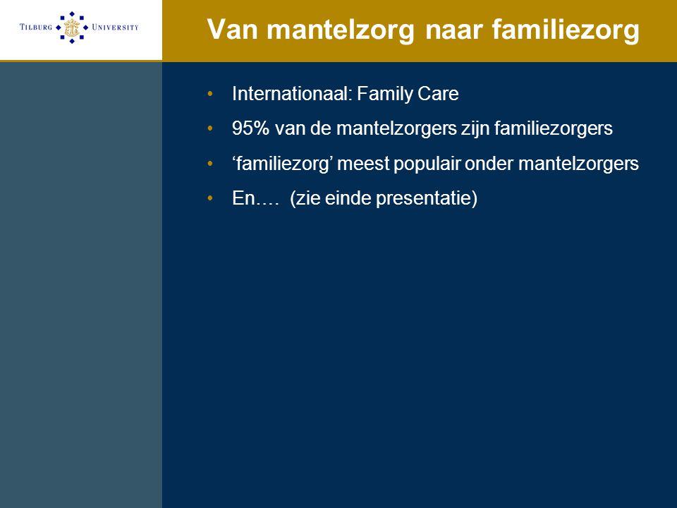 Van mantelzorg naar familiezorg Internationaal: Family Care 95% van de mantelzorgers zijn familiezorgers 'familiezorg' meest populair onder mantelzorg