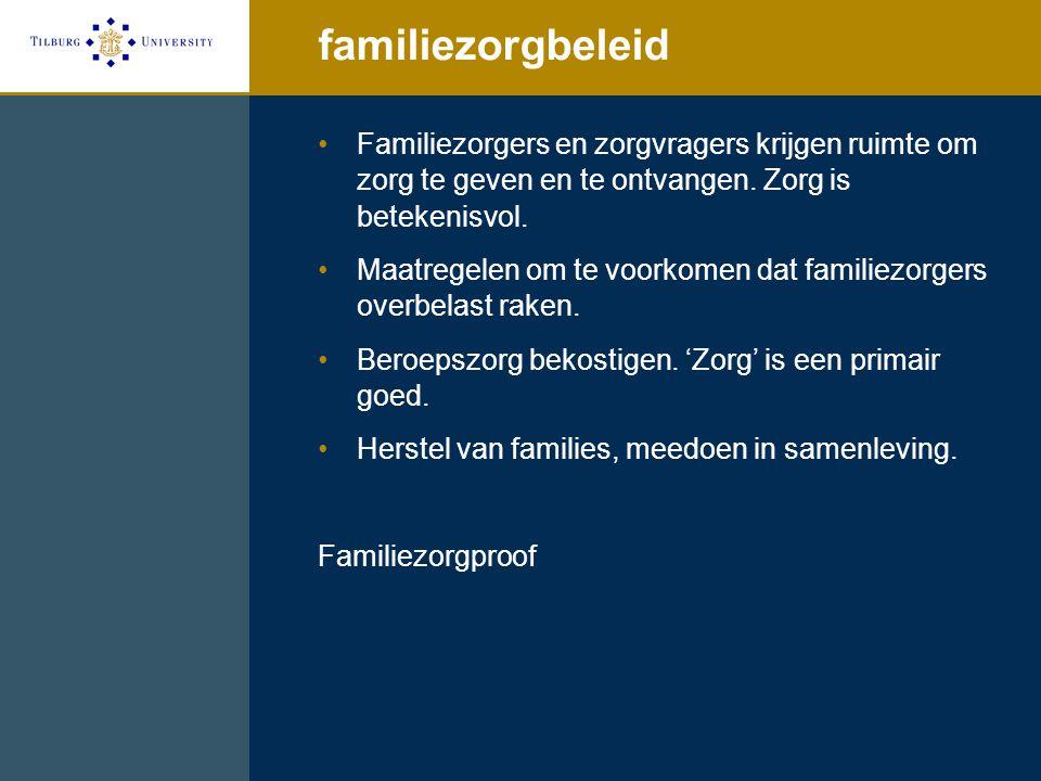 familiezorgbeleid Familiezorgers en zorgvragers krijgen ruimte om zorg te geven en te ontvangen. Zorg is betekenisvol. Maatregelen om te voorkomen dat