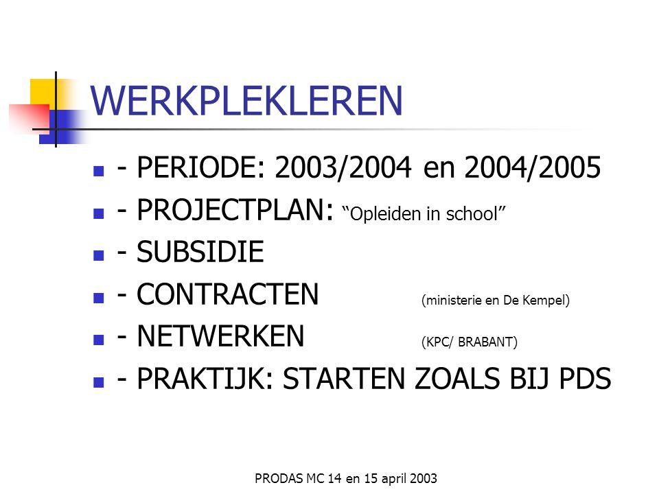 PRODAS MC 14 en 15 april 2003 MEERWAARDE voor Hogeschool *wervend vermogen naar potentiele studenten *goede aansluiting tussen theorie en praktijk *go