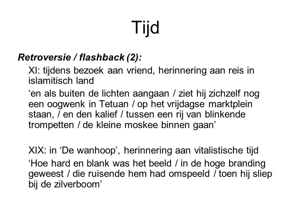 Tijd Retroversie / flashback (2): XI: tijdens bezoek aan vriend, herinnering aan reis in islamitisch land 'en als buiten de lichten aangaan / ziet hij