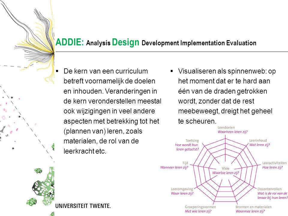 ADDIE: Analysis Design Development Implementation Evaluation  De kern van een curriculum betreft voornamelijk de doelen en inhouden. Veranderingen in