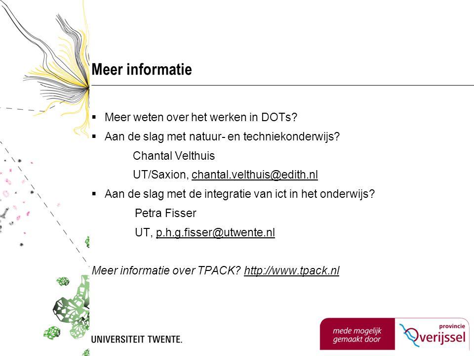 Meer informatie  Meer weten over het werken in DOTs.