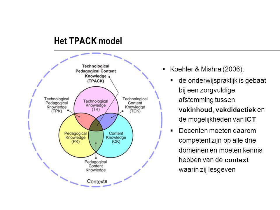 Het TPACK model  Koehler & Mishra (2006):  de onderwijspraktijk is gebaat bij een zorgvuldige afstemming tussen vakinhoud, vakdidactiek en de mogelijkheden van ICT  Docenten moeten daarom competent zijn op alle drie domeinen en moeten kennis hebben van de context waarin zij lesgeven