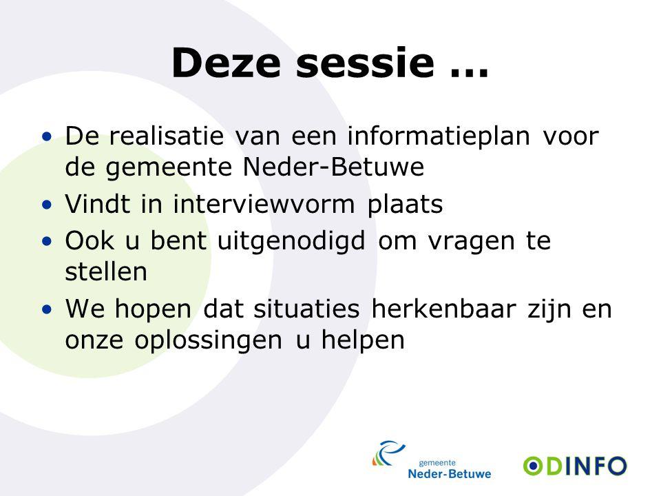 Deze sessie … De realisatie van een informatieplan voor de gemeente Neder-Betuwe Vindt in interviewvorm plaats Ook u bent uitgenodigd om vragen te ste