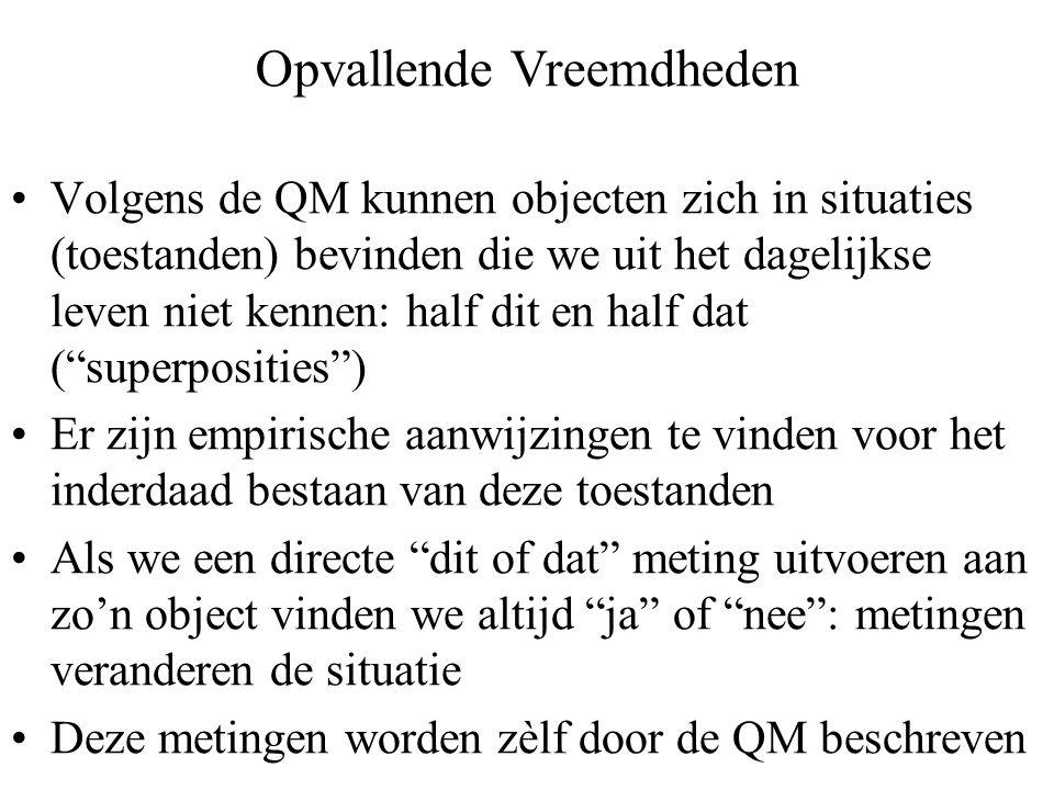Volgens de QM kunnen objecten zich in situaties (toestanden) bevinden die we uit het dagelijkse leven niet kennen: half dit en half dat ( superposities ) Er zijn empirische aanwijzingen te vinden voor het inderdaad bestaan van deze toestanden Als we een directe dit of dat meting uitvoeren aan zo'n object vinden we altijd ja of nee : metingen veranderen de situatie Deze metingen worden zèlf door de QM beschreven Opvallende Vreemdheden
