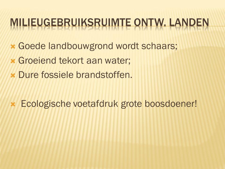  Goede landbouwgrond wordt schaars;  Groeiend tekort aan water;  Dure fossiele brandstoffen.  Ecologische voetafdruk grote boosdoener!