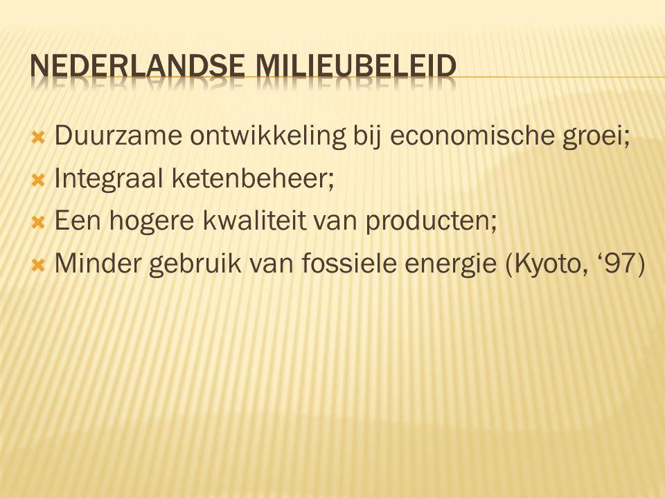  Duurzame ontwikkeling bij economische groei;  Integraal ketenbeheer;  Een hogere kwaliteit van producten;  Minder gebruik van fossiele energie (K