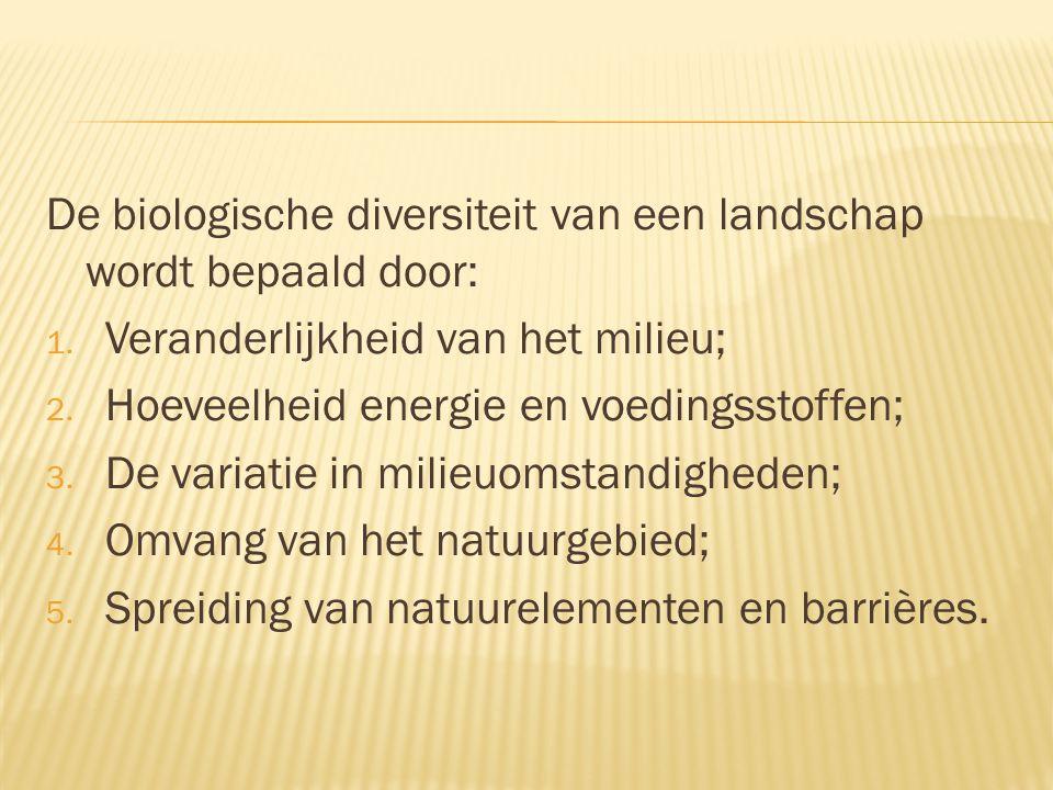 De biologische diversiteit van een landschap wordt bepaald door: 1. Veranderlijkheid van het milieu; 2. Hoeveelheid energie en voedingsstoffen; 3. De