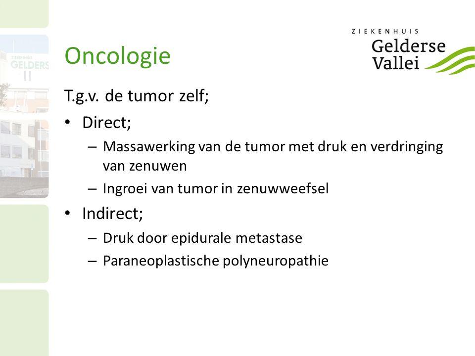 T.g.v. de tumor zelf; Direct; – Massawerking van de tumor met druk en verdringing van zenuwen – Ingroei van tumor in zenuwweefsel Indirect; – Druk doo