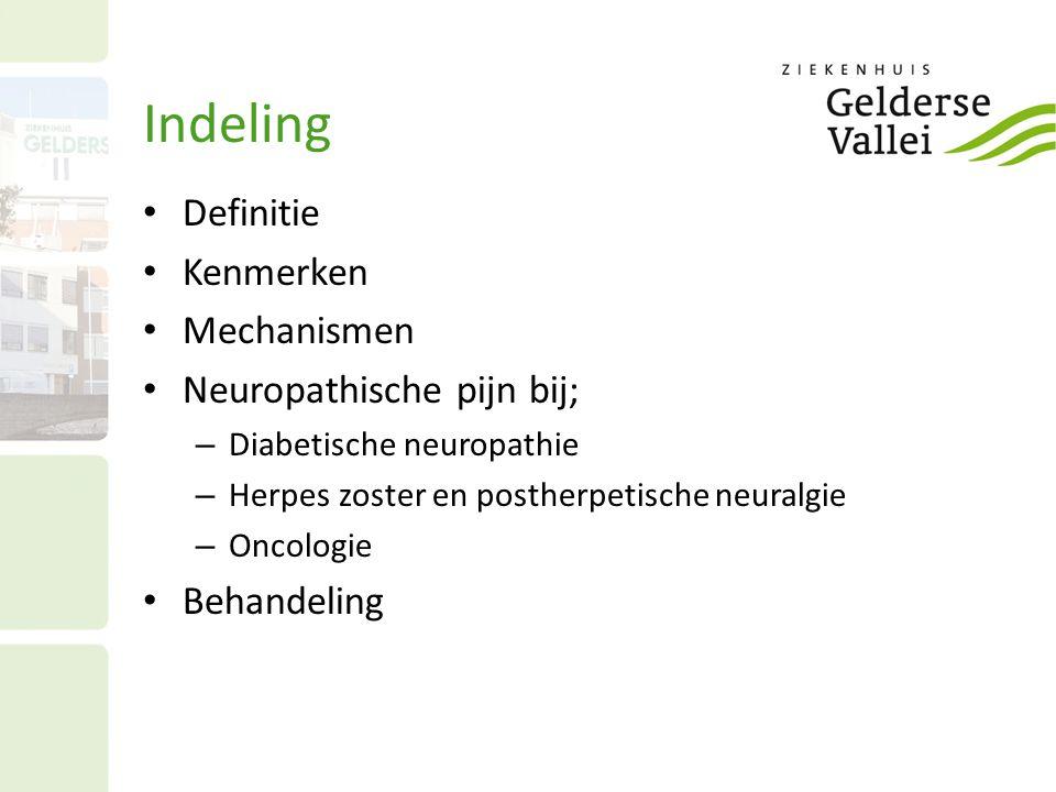 Indeling Definitie Kenmerken Mechanismen Neuropathische pijn bij; – Diabetische neuropathie – Herpes zoster en postherpetische neuralgie – Oncologie B