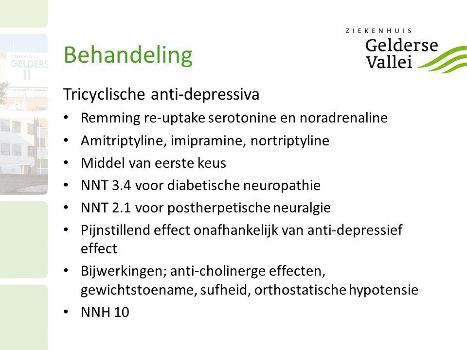 Behandeling Tricyclische anti-depressiva Remming re-uptake serotonine en noradrenaline Amitriptyline, imipramine, nortriptyline Middel van eerste keus
