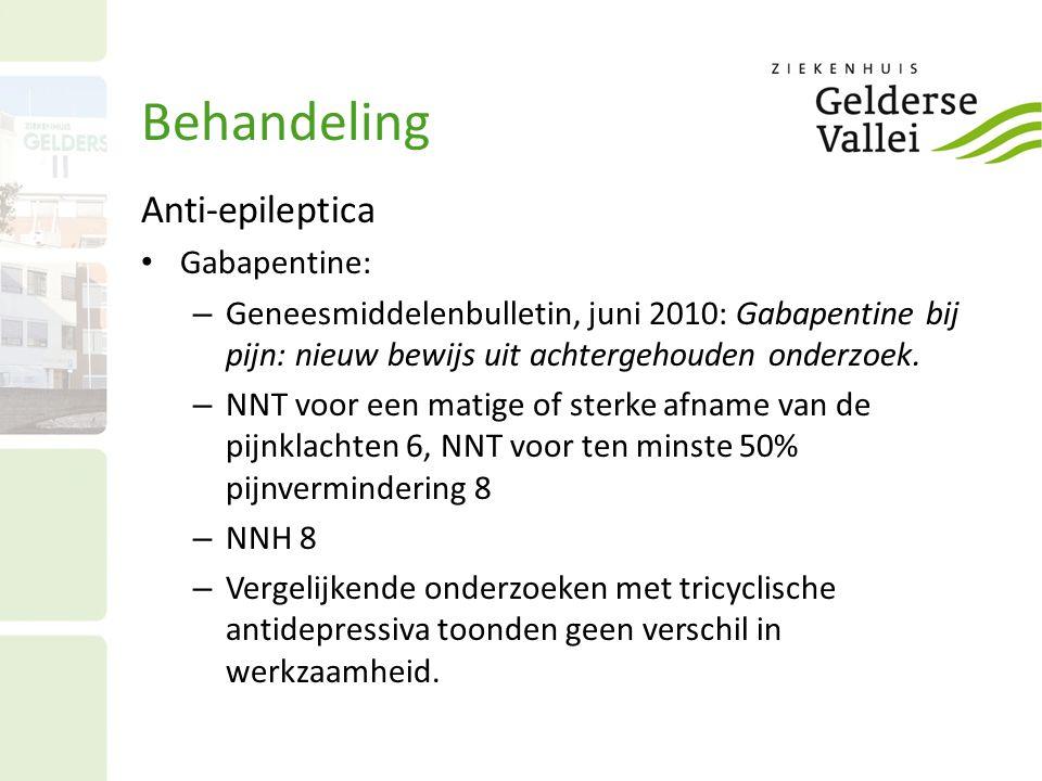 Behandeling Anti-epileptica Gabapentine: – Geneesmiddelenbulletin, juni 2010: Gabapentine bij pijn: nieuw bewijs uit achtergehouden onderzoek. – NNT v