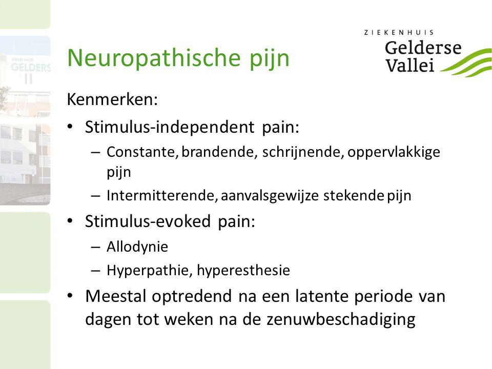 Neuropathische pijn Kenmerken: Stimulus-independent pain: – Constante, brandende, schrijnende, oppervlakkige pijn – Intermitterende, aanvalsgewijze st