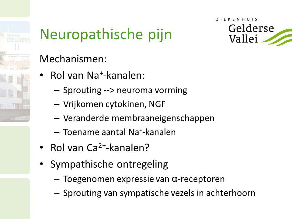 Neuropathische pijn Mechanismen: Rol van Na + -kanalen: – Sprouting --> neuroma vorming – Vrijkomen cytokinen, NGF – Veranderde membraaneigenschappen