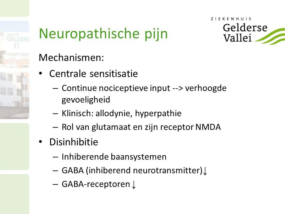 Neuropathische pijn Mechanismen: Centrale sensitisatie – Continue nociceptieve input --> verhoogde gevoeligheid – Klinisch: allodynie, hyperpathie – R