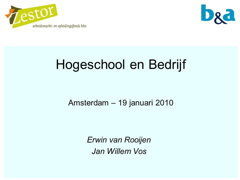 Hogeschool en Bedrijf Amsterdam – 19 januari 2010 Erwin van Rooijen Jan Willem Vos