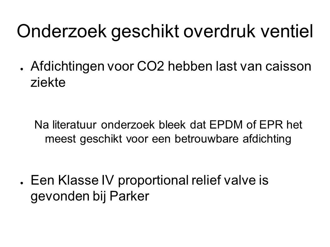 Onderzoek geschikt overdruk ventiel ● Afdichtingen voor CO2 hebben last van caisson ziekte Na literatuur onderzoek bleek dat EPDM of EPR het meest geschikt voor een betrouwbare afdichting ● Een Klasse IV proportional relief valve is gevonden bij Parker