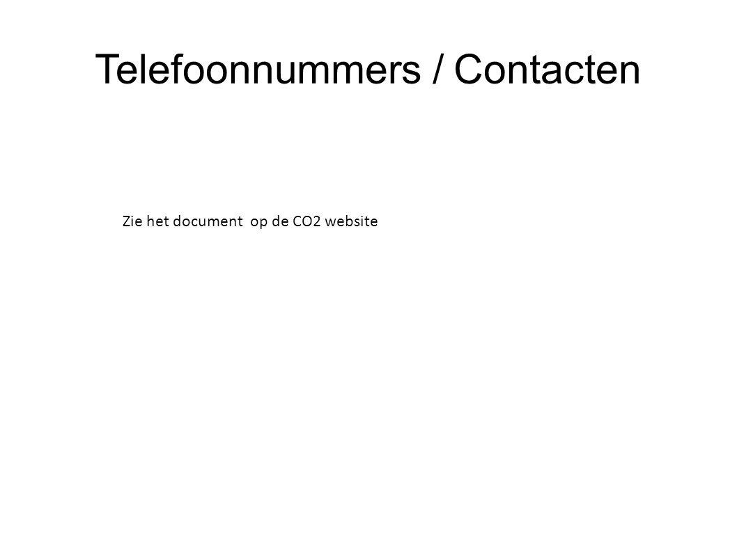 Telefoonnummers / Contacten Zie het document op de CO2 website