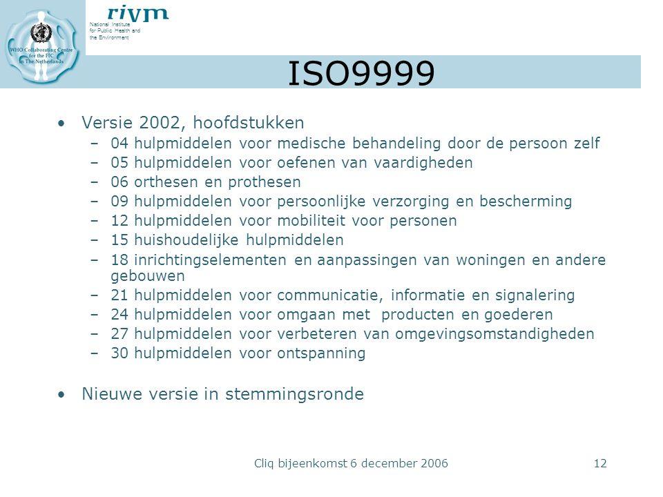 National Institute for Public Health and the Environment Cliq bijeenkomst 6 december 200612 ISO9999 Versie 2002, hoofdstukken –04 hulpmiddelen voor me