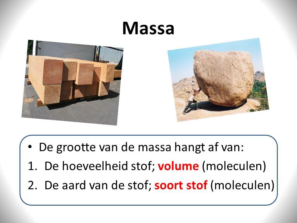 Massa De grootte van de massa hangt af van: 1.De hoeveelheid stof; volume (moleculen) 2.De aard van de stof; soort stof (moleculen)