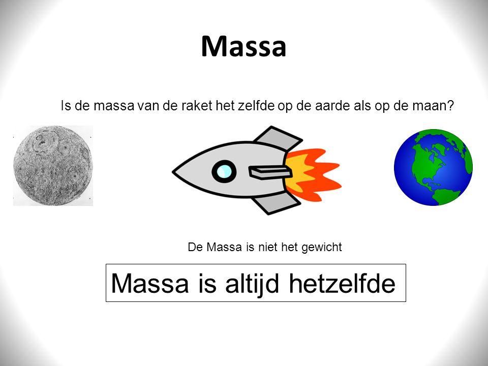 Massa Massa is altijd hetzelfde Is de massa van de raket het zelfde op de aarde als op de maan? De Massa is niet het gewicht