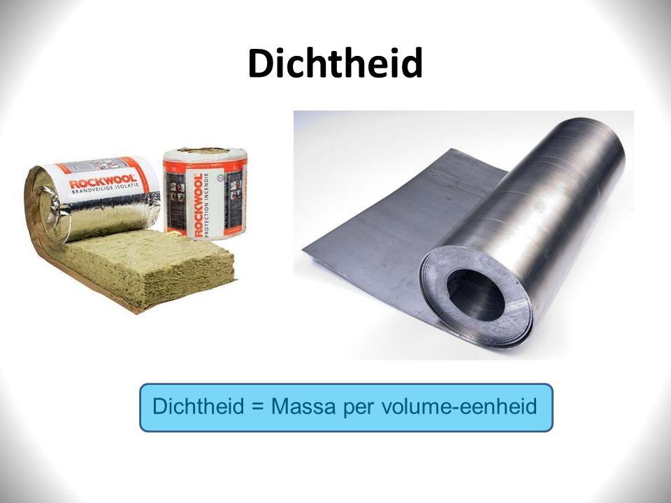 Dichtheid Dichtheid = Massa per volume-eenheid