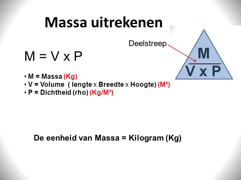 Massa uitrekenen M = V x P M = Massa (Kg) V = Volume ( lengte x Breedte x Hoogte) (M³) P = Dichtheid (rho) (Kg/M³) De eenheid van Massa = Kilogram (Kg