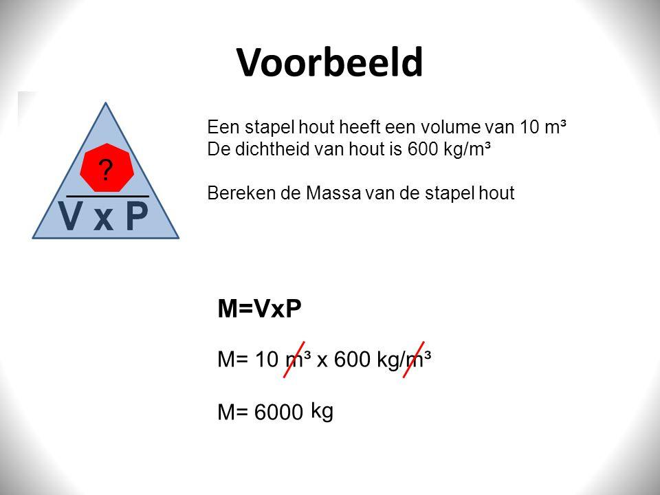 Voorbeeld Een stapel hout heeft een volume van 10 m³ De dichtheid van hout is 600 kg/m³ Bereken de Massa van de stapel hout M=VxP M= 10 m³ x 600 kg/m³