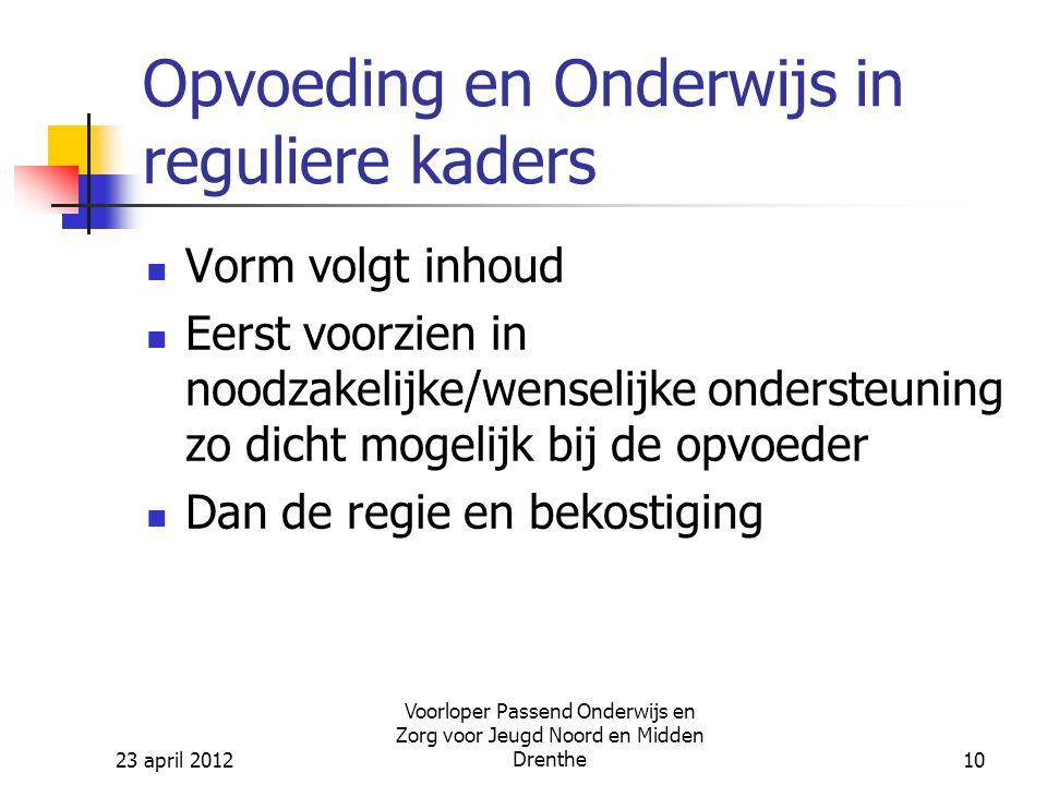 23 april 2012 Voorloper Passend Onderwijs en Zorg voor Jeugd Noord en Midden Drenthe10 Opvoeding en Onderwijs in reguliere kaders Vorm volgt inhoud Eerst voorzien in noodzakelijke/wenselijke ondersteuning zo dicht mogelijk bij de opvoeder Dan de regie en bekostiging