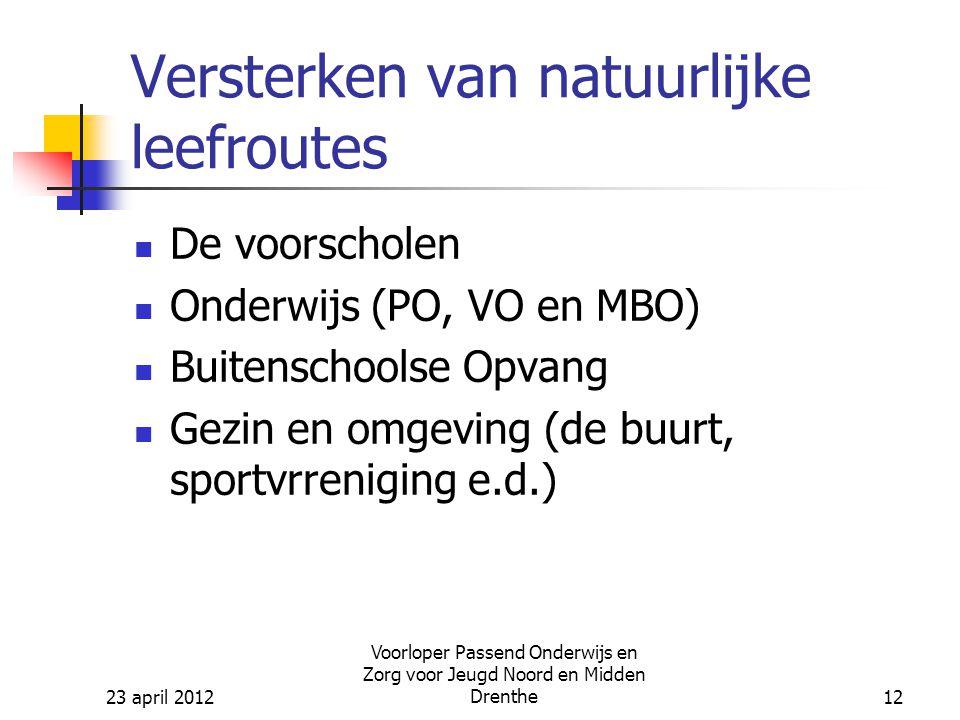 23 april 2012 Voorloper Passend Onderwijs en Zorg voor Jeugd Noord en Midden Drenthe12 Versterken van natuurlijke leefroutes De voorscholen Onderwijs (PO, VO en MBO) Buitenschoolse Opvang Gezin en omgeving (de buurt, sportvrreniging e.d.)