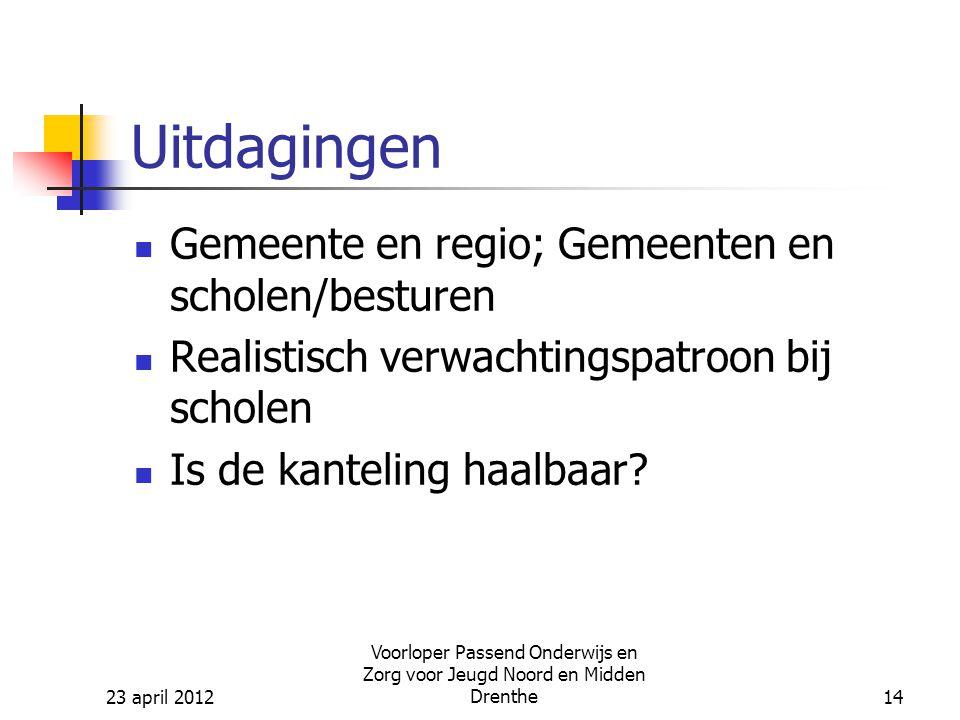 23 april 2012 Voorloper Passend Onderwijs en Zorg voor Jeugd Noord en Midden Drenthe14 Uitdagingen Gemeente en regio; Gemeenten en scholen/besturen Realistisch verwachtingspatroon bij scholen Is de kanteling haalbaar?