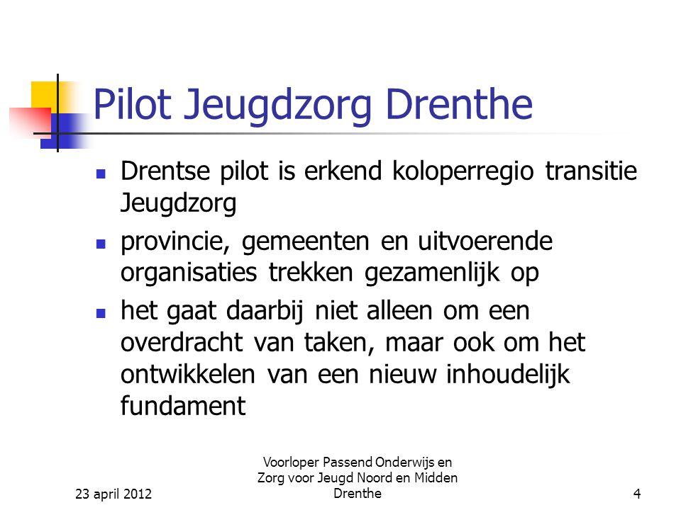 23 april 2012 Voorloper Passend Onderwijs en Zorg voor Jeugd Noord en Midden Drenthe15 Uitdagingen Hoe gaan we er voor zorgen dat we komen tot bundeling van expertise in geïntegreerde speciale onderwijsinstellingen (so + sbo), terwijl er sprake is van twee wetten (WPO / WEC), verschillende financieringswijzen.
