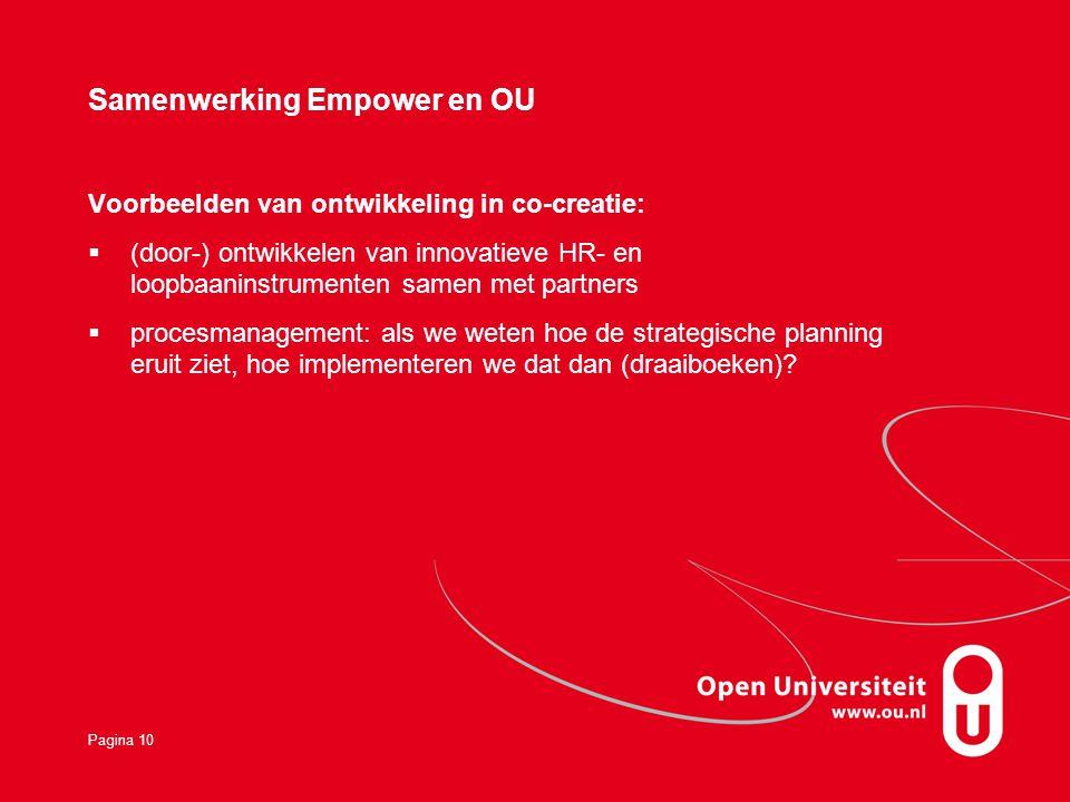 Pagina 10 Samenwerking Empower en OU Voorbeelden van ontwikkeling in co-creatie:  (door-) ontwikkelen van innovatieve HR- en loopbaaninstrumenten samen met partners  procesmanagement: als we weten hoe de strategische planning eruit ziet, hoe implementeren we dat dan (draaiboeken)