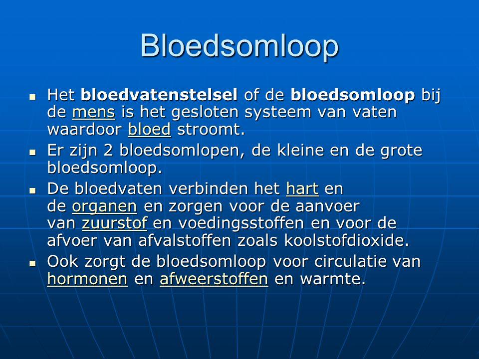 Bloedsomloop Het bloedvatenstelsel of de bloedsomloop bij de mens is het gesloten systeem van vaten waardoor bloed stroomt. Het bloedvatenstelsel of d
