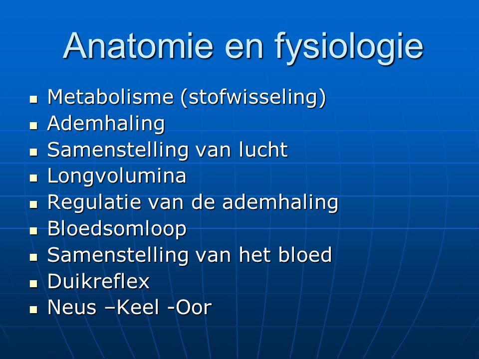 Anatomie en fysiologie Anatomie en fysiologie Metabolisme (stofwisseling) Metabolisme (stofwisseling) Ademhaling Ademhaling Samenstelling van lucht Sa