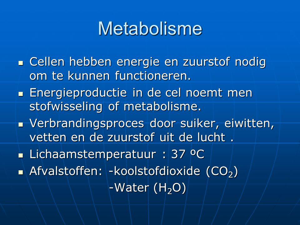 Metabolisme Cellen hebben energie en zuurstof nodig om te kunnen functioneren. Cellen hebben energie en zuurstof nodig om te kunnen functioneren. Ener