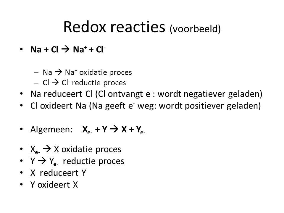 Redox reacties (voorbeeld) Na + Cl  Na + + Cl - – Na  Na + oxidatie proces – Cl  Cl - reductie proces Na reduceert Cl (Cl ontvangt e - : wordt nega