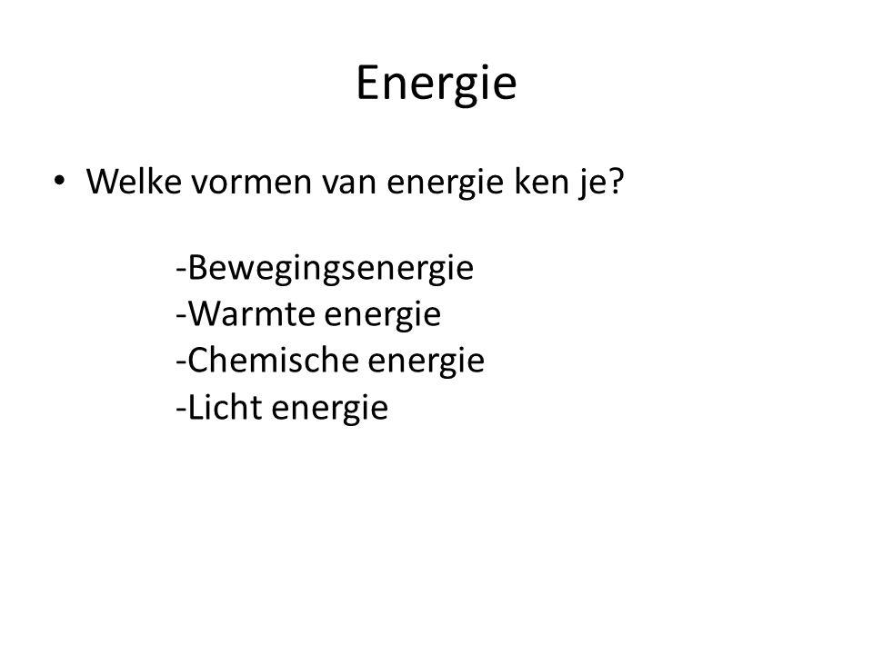 Energie Welke vormen van energie ken je? -Bewegingsenergie -Warmte energie -Chemische energie -Licht energie