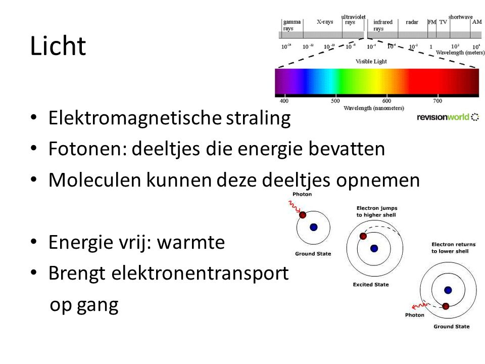 Licht Elektromagnetische straling Fotonen: deeltjes die energie bevatten Moleculen kunnen deze deeltjes opnemen Energie vrij: warmte Brengt elektronen