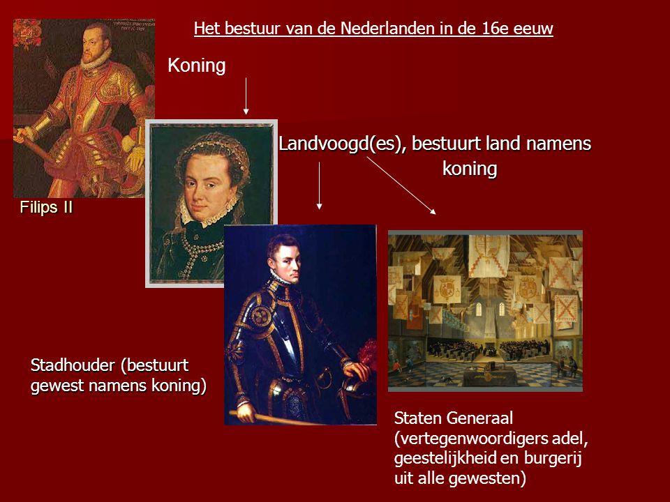 Landvoogd(es), bestuurt land namens koning Landvoogd(es), bestuurt land namens koning Stadhouder (bestuurt gewest namens koning) Staten Generaal (vertegenwoordigers adel, geestelijkheid en burgerij uit alle gewesten) Het bestuur van de Nederlanden in de 16e eeuw Filips II Koning