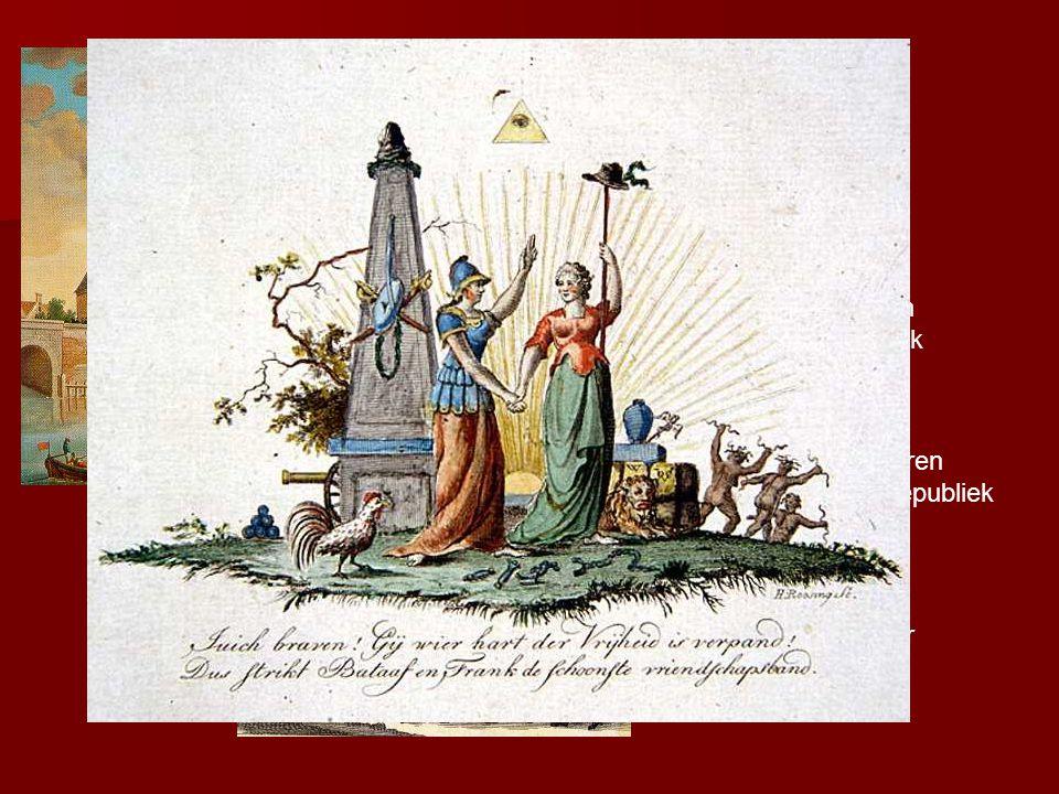 Pruisische troepen herstellen de orde in 1787→ veel patriotten vluchten naar Frankrijk Maar in 1795 veroveren Franse troepen de republiek Willem V vlucht naar Engeland