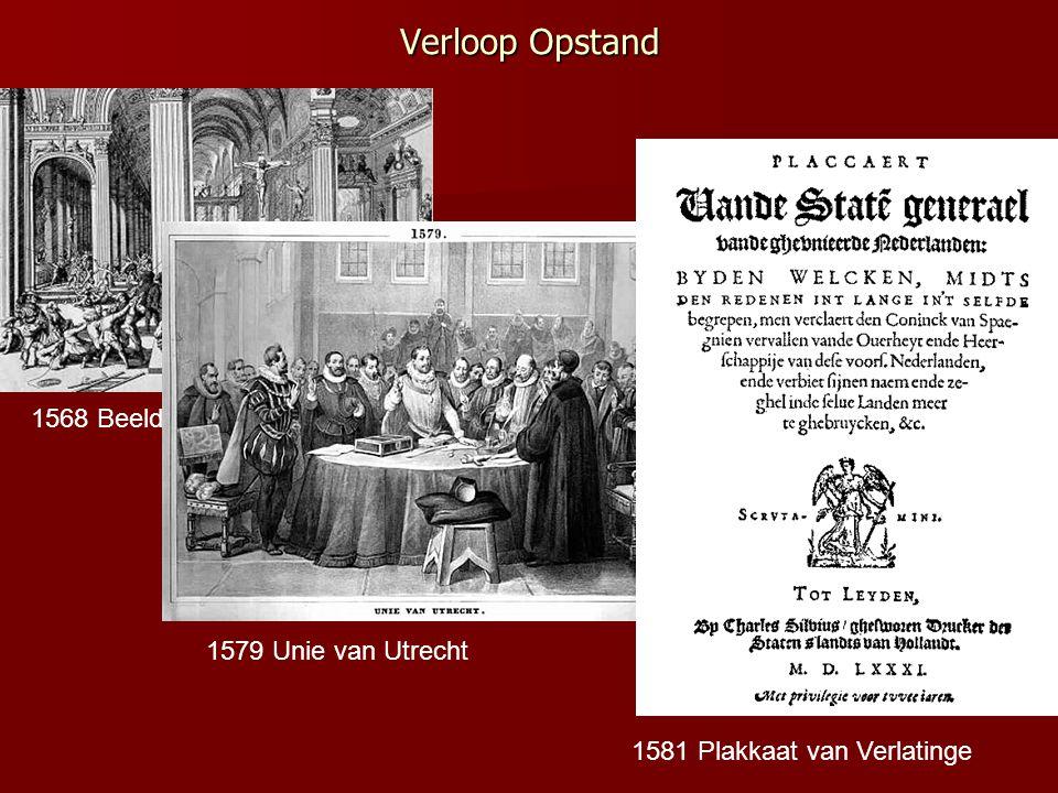 Verloop Opstand 1568 Beeldenstorm 1579 Unie van Utrecht 1581 Plakkaat van Verlatinge