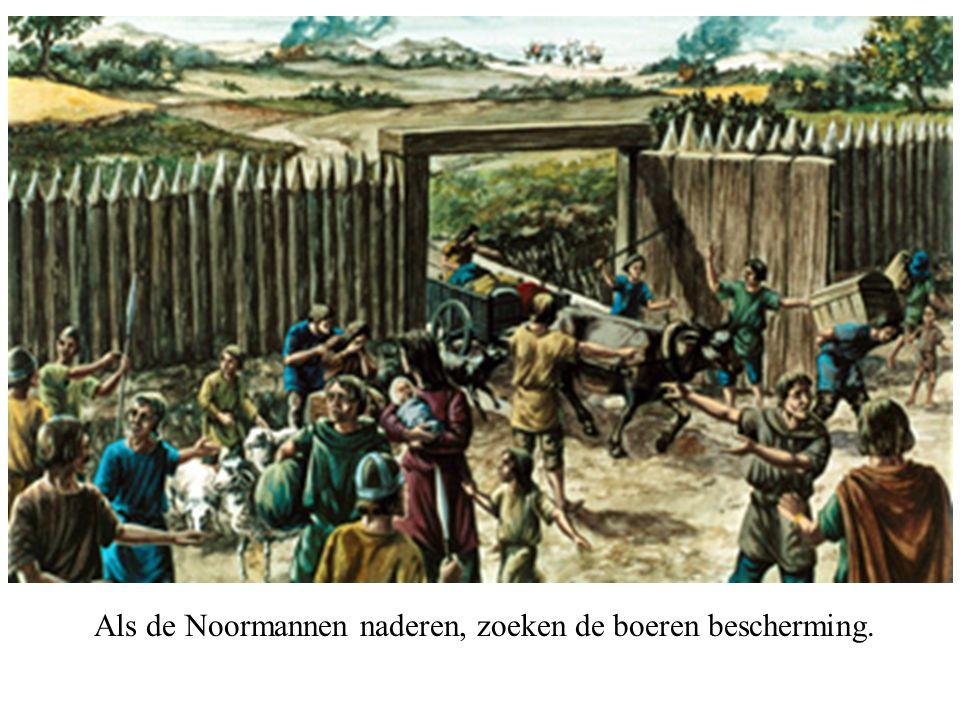 Als de Noormannen naderen, zoeken de boeren bescherming.